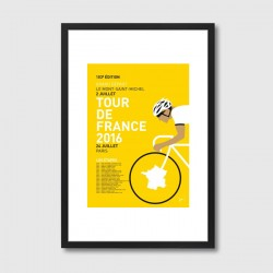 My Tour de France 2016 Framed Print - yellow bicycle art print