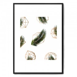 Palm + Geometry V2 Framed Print - geometric palm leaf art print