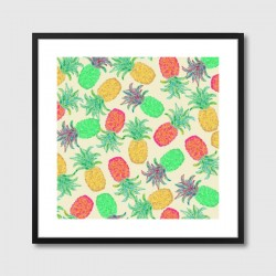 Pineapple Pandemonium Framed Art Print - neon fruit pattern print