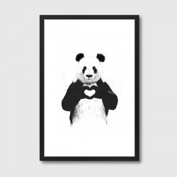 All you need is Love Framed Print – panda art print