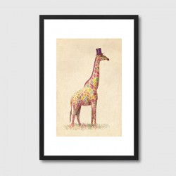 Fashionable Giraffe Framed Art Print - quirky animal art print