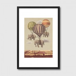 Flight of the Elephants Framed Art Print - quirky animal art