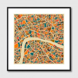 London Map Framed Print - Red Candy
