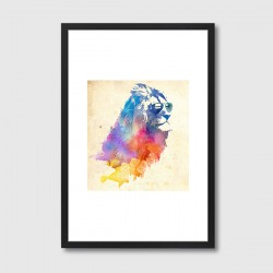 Sunny Leo Framed Print – colourful lion art print