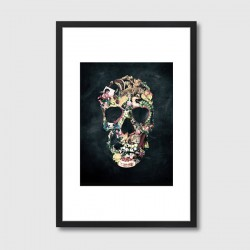 Vintage Skull Framed Print – collage skull art print