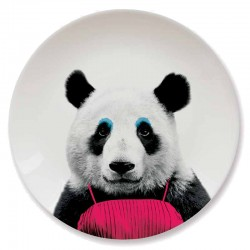 Wild Dining Plate - Panda - novelty animal dinner plate - Mustard
