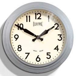 Newgate 50s Electric Wall Clock - laboratory grey metal clock