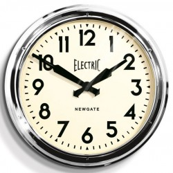 Newgate Giant Electric Station Clock (Chrome) - Red Candy