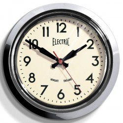 Newgate Small 50s Electric Wall Clock (Chrome) - Red Candy