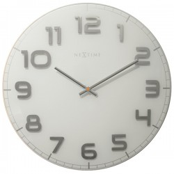 Nextime Classy Large Wall Clock - White & Silver - glass clock