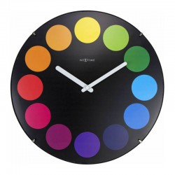 Nextime Dots Dome Clock Black – colour dots domed wall clock