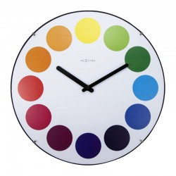 Nextime Dots Dome Clock White – colourful domed wall clock