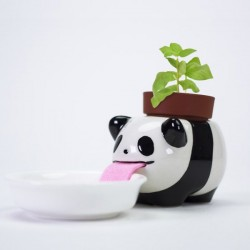 Peropon Drinking Animal Planter - Panda - self watering plant pot