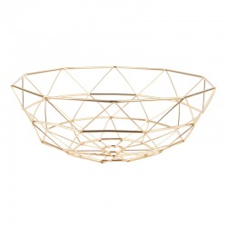 Diamond Cut Basket - Gold - geometric fruit dish - Present Time