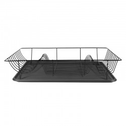 Linea Dish Rack - Black - modern dish drainer and tray