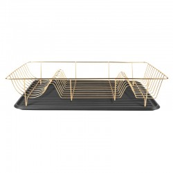 Linea Dish Rack - Gold - metal wire dish drainer and tray