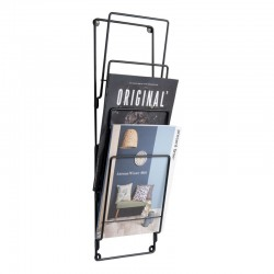 Wire Wall Magazine Rack - Black - wall hanging storage rack