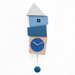 Crooked Cuckoo Clock – blue wooden wall clock