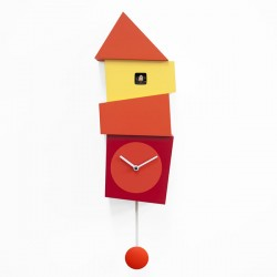 Crooked Cuckoo Clock – orange designer wall clock