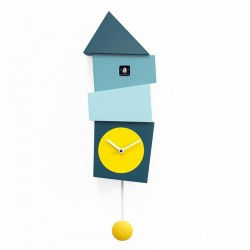 Crooked Cuckoo Clock – turquoise wooden wall clock