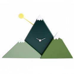 Mountain Sunset Wall Clock – green designer wall clock