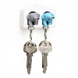 Elephant Key Ring Duo - Blue & Grey - quirky animal key holder