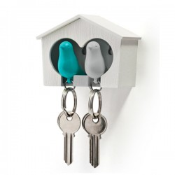 Sparrow Key Ring Duo - Blue & White - Qualy birdhouse key holder
