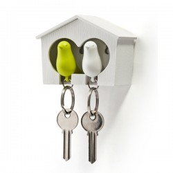 Sparrow Key Ring Duo - Green & White - bird key holder - Qualy