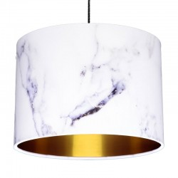 Carrara Marble Effect Lampshade (Gold) - Red Candy