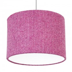 Harris Tweed Herringbone Drum Lampshade (Purple) - Red Candy