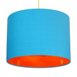 Neon Lined Lampshade (Light Blue & Orange) - Red Candy