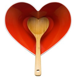 Sagaform Heart Bowl with Ladle - red funky salad set