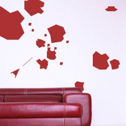 Asteroids Wall Sticker Set - Red Candy