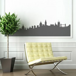 London Skyline Wall Sticker - Red Candy
