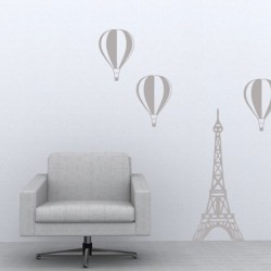 Paris Balloon Wall Sticker - hot air balloons & Eiffel tower