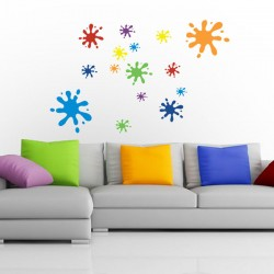 Multicoloured Splat Wall Sticker Set - colourful wall stickers