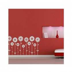 Symmetrical Flowers Wall Sticker Set - Red Candy