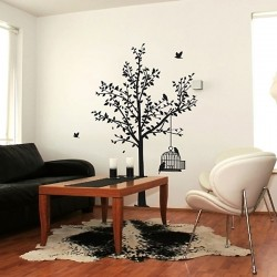Tree & Birdcage Wall Sticker - Red Candy