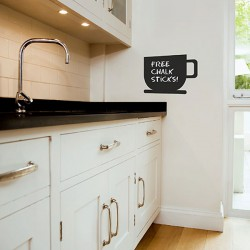Coffee Cup Chalkboard Wall Sticker - Red Candy