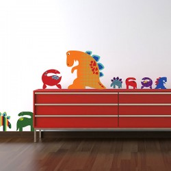 Patterned Dinosaurs Wall Sticker Set - Red Candy