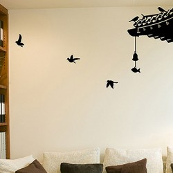 Oriental Roof Wall Sticker Set - rooftop silhouette wall decor