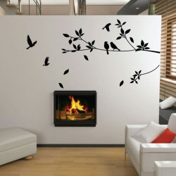 Stylish Tree And Bird Wall Sticker - nature wall decor