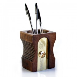 Suck UK Sharpener Desk Tidy - Dark Wood - novelty pen pot