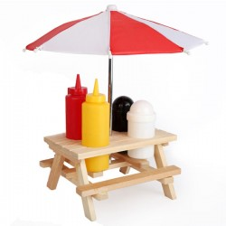 Utility Condiment Picnic Table - Red Candy