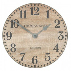 Thomas Kent Wharf Clock 15 Inch - Soaped Oak - industrial clock