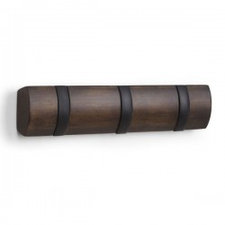 Umbra Flip 3 Hook - Walnut - small designer coat rack
