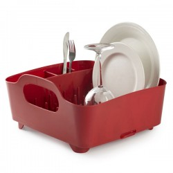 Umbra Tub Dish Rack - red plate drainer