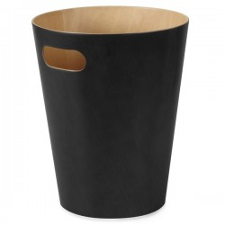 Umbra Woodrow Waste Bin - Black - designer waste paper can