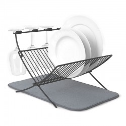 Umbra XDry Folding Dish Rack & Drying Mat - grey dish drainer