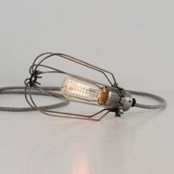 Drop Cage Lamp (Raw Steel) - Red Candy
